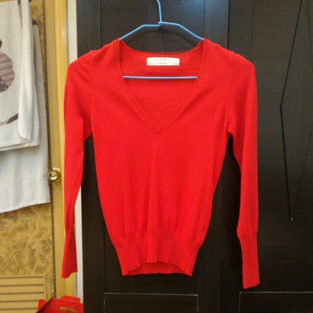 日本帶回Zara紅色v領針織衫