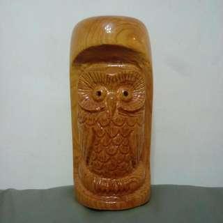 檜木貓頭鷹 鳳梨 代表財旺 運旺 純手工雕