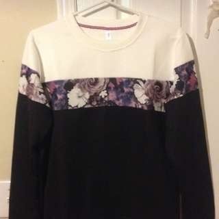Men's Black/White Floral Crewneck Sweatshirt