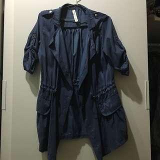 顯瘦縮腰 風衣 薄外套 深藍色