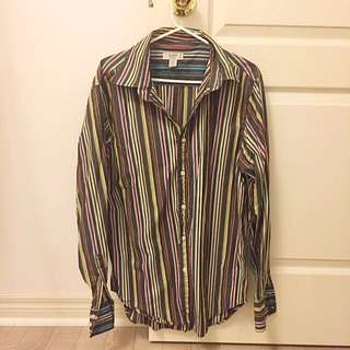 GUESS Men 100% Cotton Colourful Stripe Dress Shirt L