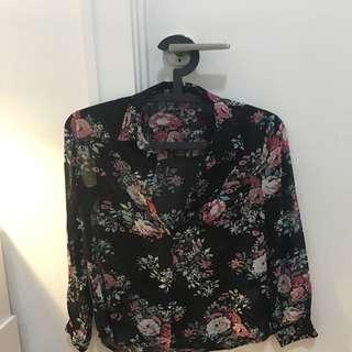 New Women's Sheer Floral Shirt