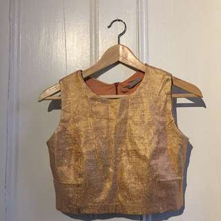 ROSE GOLD FOIL LOOK CROP TOP