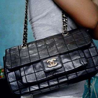 Genuine Leather Chocolate Bar Chanel Chain Shoulder Bag