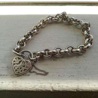 Authentic Silver Heart Bulky Bracelet
