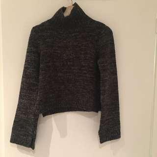 Zara Cropped Knit Polo neck Sweater