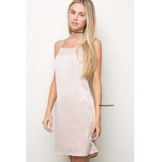 Brandy Melville Claire Silky Dress Pink