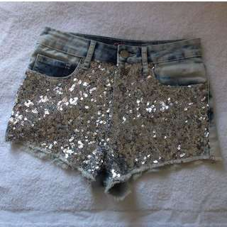 Silver Sparkling Shorts - Size 7