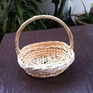 Beige basket 23cm x 30x x 12cm in good condition.