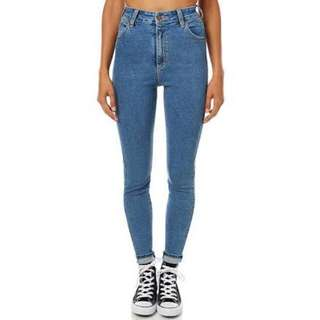 Wrangler Hi Pins Blue High Waisted Jeans