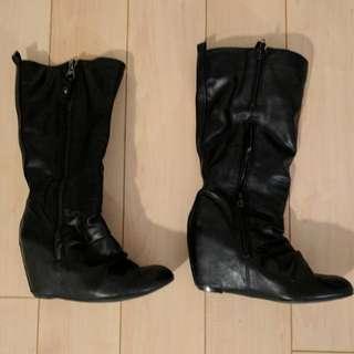 Call It Spring Black Hidden Wedge Boots