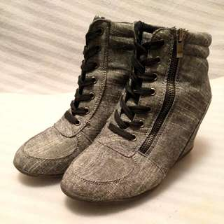 Grey Wedge Laced Boots