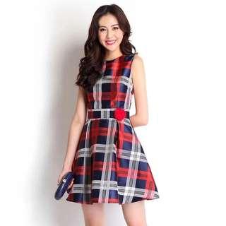 (BNIB) Lily Pirates - Plaid Jane Cheongsam Dress In Red