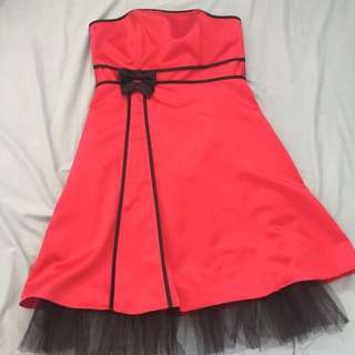 Red Strapless Formal Dress