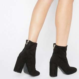 Faux Suede Sock Boot - Size 8