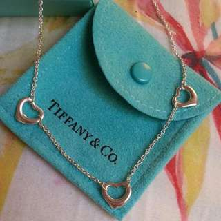 TIFFANY & CO Sterling Silver 3 Three Open Heart Pendant Necklace