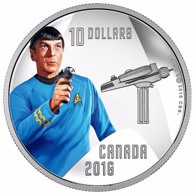 $10 1/2 oz Pure Silver Color Coin - Star Trek Crew: Spock (2016)