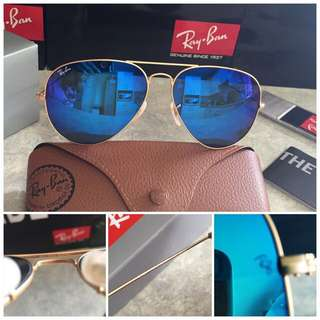 Authentic RayBan RB3025 Blue Mirror Lens with Gold Frame 62mm large