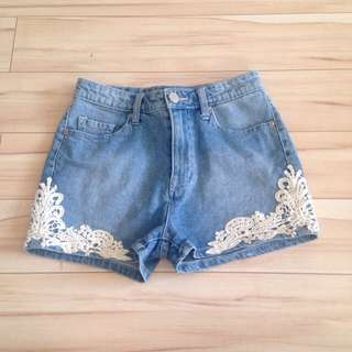 BDG Crochet Trimmed Light Wash Denim High Waisted Shorts