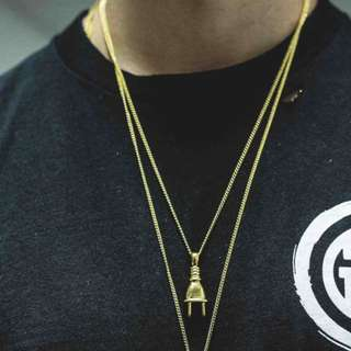 18K Gold Plated Plug Pendant