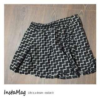 🚚 黑白 鬆緊格紋短裙