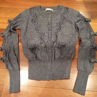 Alannah Hill Grey Wool Cardigan Sz 8