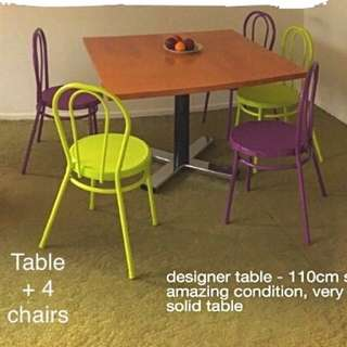 Designer Table + 4 Chairs
