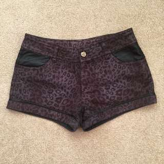 Dark Purple Leopard Print And Faux Leather Shorts