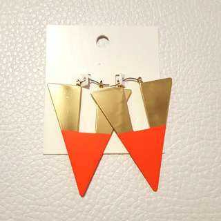 Orange & Gold Triangle Earrings