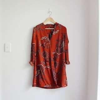 Boohoo Lillian Paisley Wrap Shirt Dress