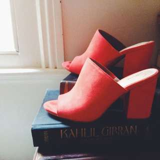 Red Faux Suede Mules