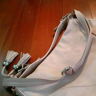 專櫃 Bo Derek 粉嫩色真牛皮側背包 手提包