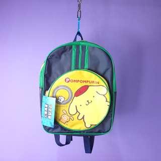 「布丁狗 深藍色綠色 後背包 古著包包 @一中 舊到過去 尺寸約 : 29 x 38cm」