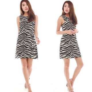 The J Label Blogshop Sophisticated Checkered Zebra Abstract Stripers Monochrome Black White Office / Casual Illusion Frock / Dress
