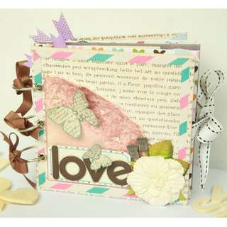 100% Handmade LOVE Butterflies Mini Album. Uniquely 1 stock only!