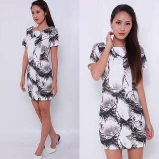 The J Label Blogshop Sophisticated Neoprene Marble Paintbrush Abstract Monochrome Black White Office / Casual Illusion Frock / Dress