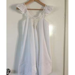 Country Road White Cotton Swing Dress