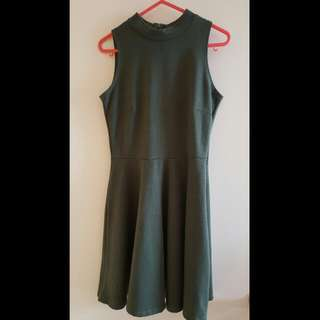 Dress - Ribbed Green Turtleneck - Size XS