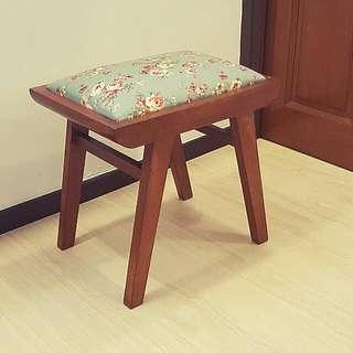 Vintage Teakwood Dresser Stool (New Upholsery)