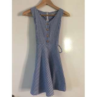 Blue and White Stripe Sundress