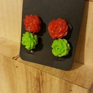 2 Rose Earings