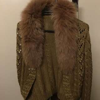 Knitted Jacket With Fur Beige