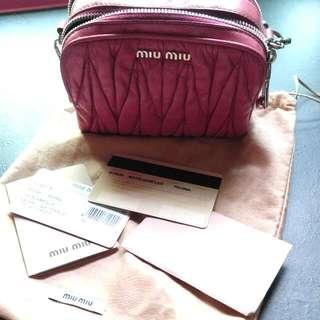 23cbbebae6e Authentic Miu Miu Small Matelasse Lux Pochette Peonia Calfskin Bag