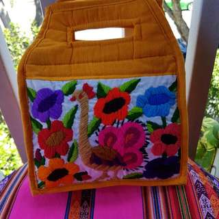 Tote Bag From MEXICO ...HAND embroidered at Front ...plain Yellow At Back ...BNWT