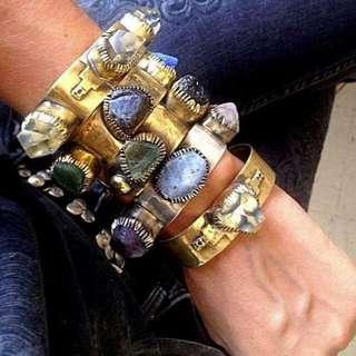 Handmade Genuine Crystalised Stones Greek Made Metal Bracelets Size Small