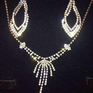 Bridal Bride Wedding Prom Formal Rhinestone Swarovski Diamond Necklace Earrings