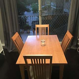 Timber Dining Table & 4 Upholstered Chairs