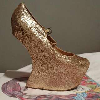 Jeffrey Campbell Gold Glitter Nightwalk