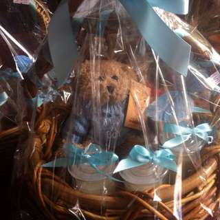 Baby Boy Hamper With Teddy Bear And 4 Bomboniere Candles