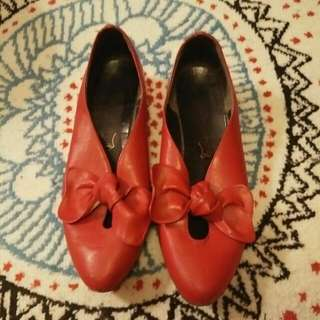 Cute 60s Vintage Red Shoes Size 38
